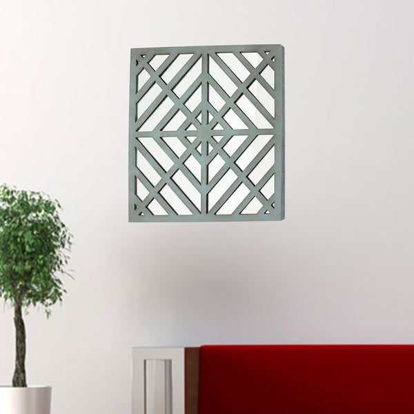 "1.25"" x 23.25"" x 23.25"" Blue, Mirrored, Square, Wooden - Wall Decor"