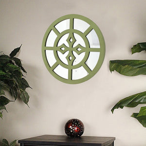 "15.5"" x 15.5"" Green, Rustic Mirrored, Round - Wooden Wall Decor"