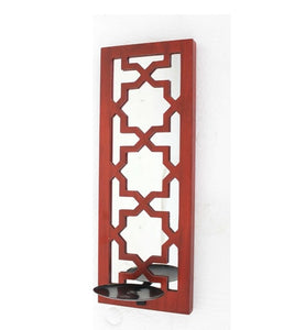 "17"" x 5"" x 6"" Red, Wooden Cross - Candle Holder Sconce"