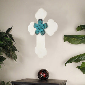"1"" x 15.75"" x 23.75"" White, Rustic Cross Wooden - Wall Decor"