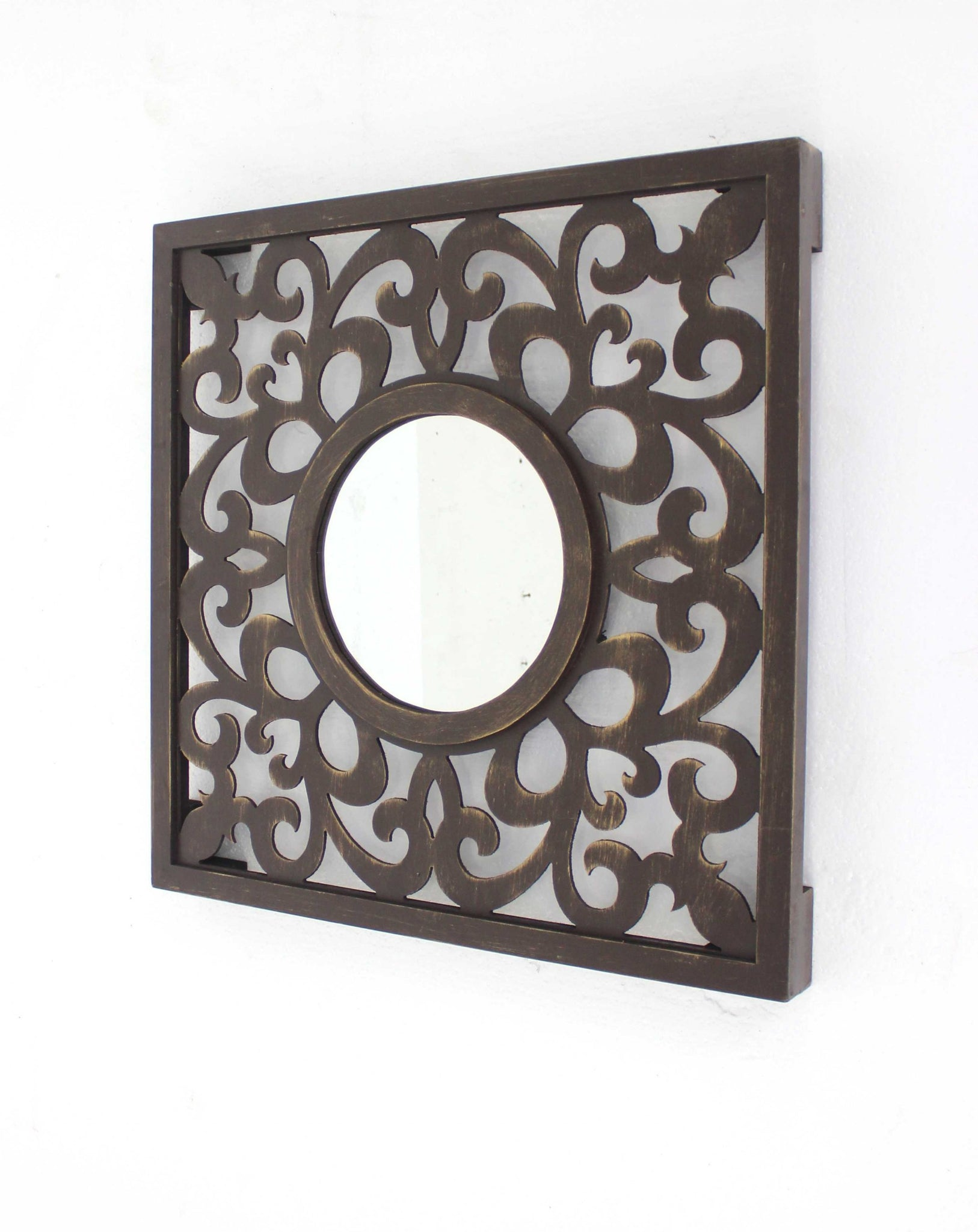 "24"" x 24"" Brown, Vintage - Wall Mirror"