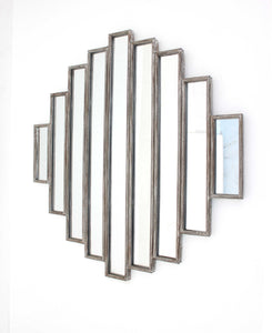 "36"" x 36"" x 2"" Silver, Rustic, Multi Mirrored -Wall Sculpture"