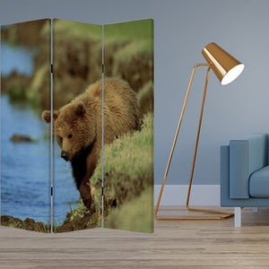 "1"" x 48"" x 72"" Multi-Color, Wood, Canvas, Bear - Screen"