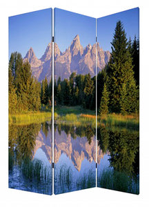 "1"" x 48"" x 72"" Multi-Color, Wood, Canvas, Mountain Peaks - Screen"