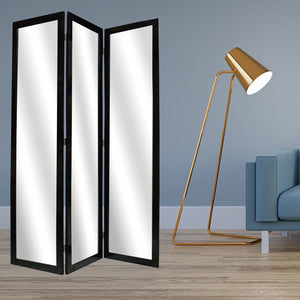 "1"" x 50"" x 69"" Black, Glass & Wood, Mirror - Screen"