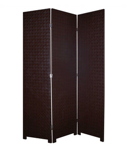 "1"" x 52"" x 71"" Brown, Criss Cross, Faux-Leather - Screen"
