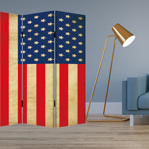 "1"" x 84"" x 84"" Multi-Color, Wood, Canvas, American Flag - Screen"