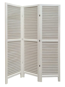 "1"" x 48"" x 67"" White, Wood, Shutter - Screen"