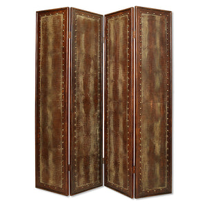 "1"" x 76"" x 84"" Brown, Faux-leather, Reptillian - Screen"