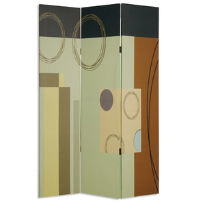 "1"" x 48"" x 72"" Multi-Color, Wood, Canvas -3 Panel Screen"
