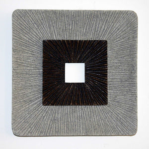 "1"" x 26"" x 26"" Brown & Gray, Encaved, Square, Ribbed - Wall Art"