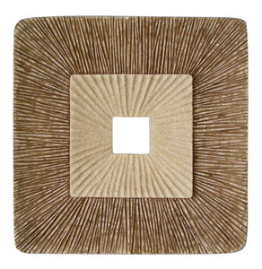 "1"" x 19"" x 19"" Brown, Concave Square, Double Layer Ribbed - Wall Plaque"