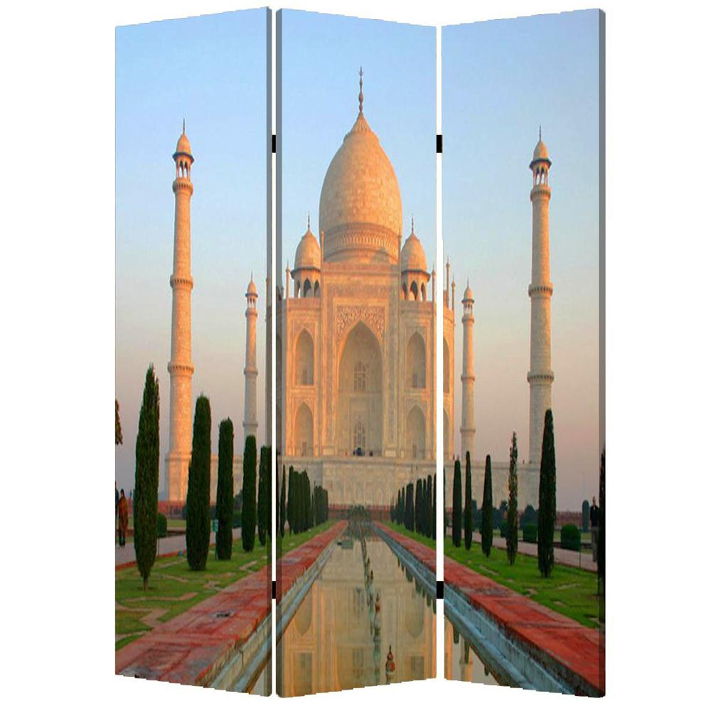 "1"" x 48"" x 72"" Multi-Color, Wood, Canvas, Taj Mahal - Screen"