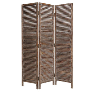 "1"" x 63"" x 72"" Brown, 3 Panel, Solid Wood, Fortress - Screen"
