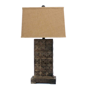 "4.75"" x 9.5"" x 29.5"" Brown, Vintage With Metal Pedestal - Table Lamp"