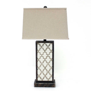 "5.25"" x 8"" x 30"" Bronze, Rock Floral Base - Table Lamp"