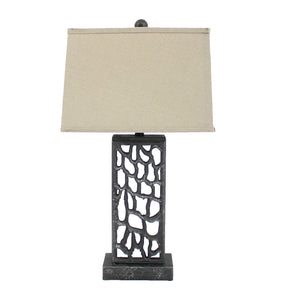 "5"" x 8"" x 28.75"" Silver, Metal With Multi Mini Grotto Pattern - Table Lamp"