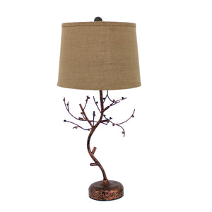 "13"" x 15"" x 31"" Bronze, Vintage, Metal With Elegant Tree Base - Table Lamp"