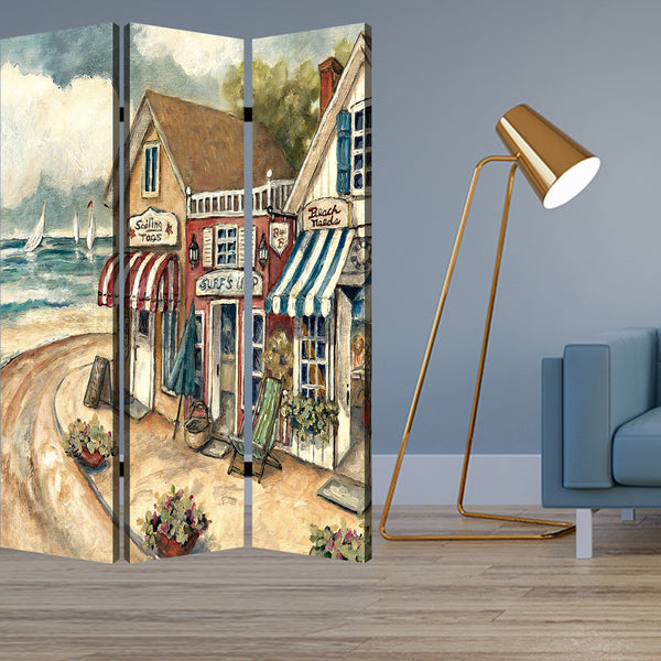 "1"" x 48"" x 72"" Multi-Color, Wood, Canvas, Seaside Town Slate - Screen"