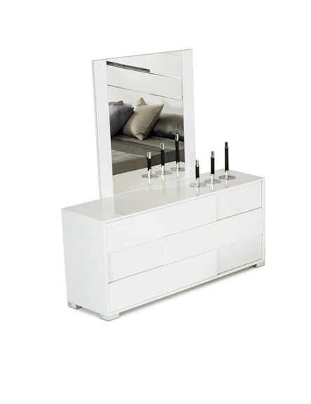 "30"" White MDF and Metal Dresser"