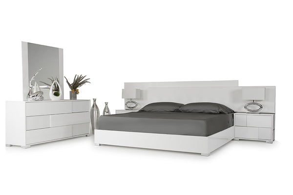 "46"" White MDF and Steel Queen Bed"
