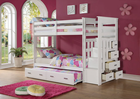 "97"" X 43"" X 68"" Twin Over Twin White Storage Ladder And Trundle Bunk Bed"