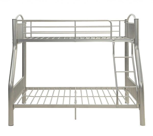"78"" X 56"" X 67"" Silver Metal Twin Over Full Bunk Bed"