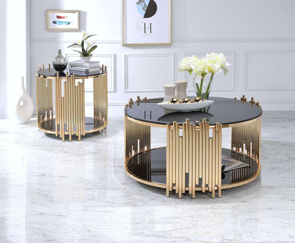 "25"" X 25"" X 22"" Black Glass And Gold End Table"