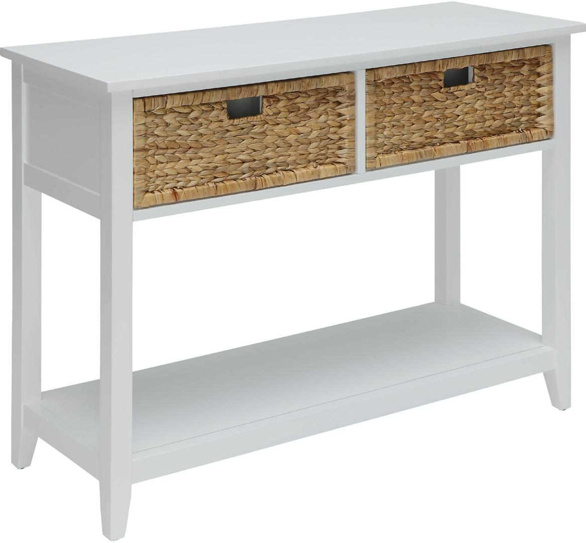 "44"" X 16"" X 28"" White Solid Wood Leg Console Table"