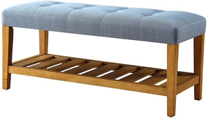 "40"" X 16"" X 18"" Blue And Oak Simple Bench"