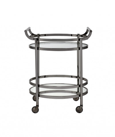 "27"" X 19"" X 34"" Clear Glass And Black Nickel Serving Cart"