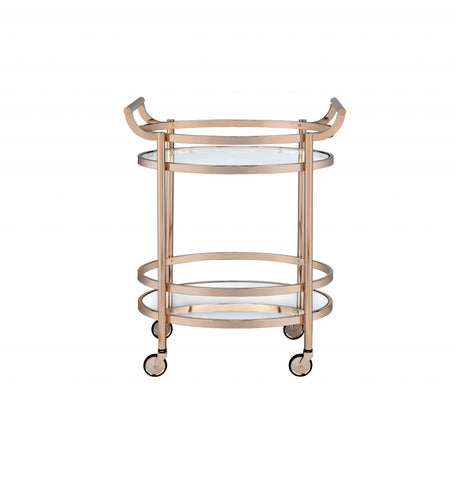 "27"" X 19"" X 34"" Clear Glass And Rose Gold Serving Cart"