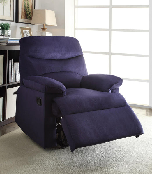 Recliner , Blue Woven Fabric - Woven Fabric, Wood (Solid Blue Woven Fabric