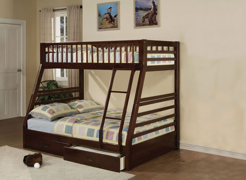 "79"" X 56"" X 65"" Epresso Pine Wood Twin Over Full Bunk Bed"
