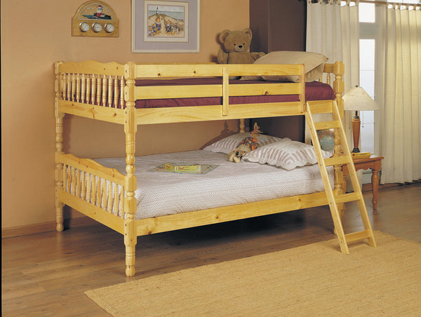 Full-Full Bunk Bed, Natural - Pine Wood Natural