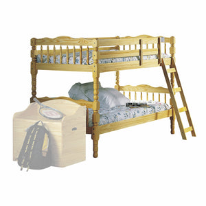 "81"" X 43"" X 60"" Twin Over Twin Natural Pine Wood Bunk Bed"