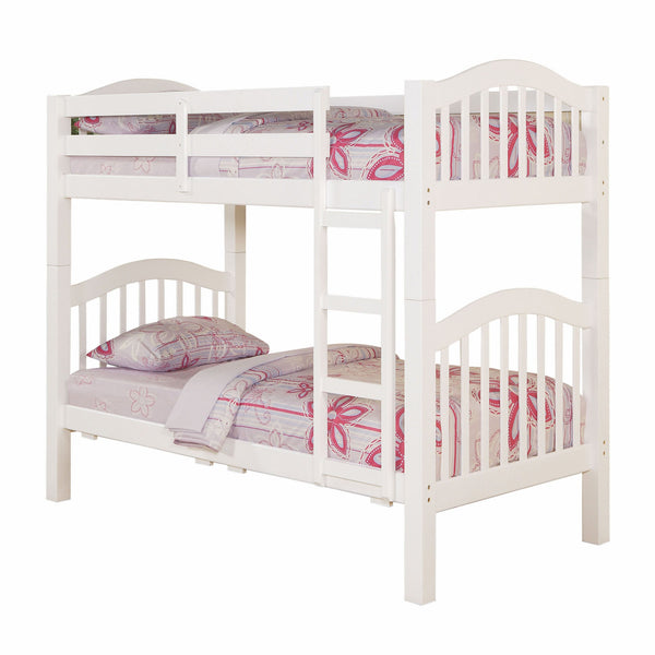 "80"" X 43"" X 69"" White Pine Wood Twin Over Twin Bunk Bed"