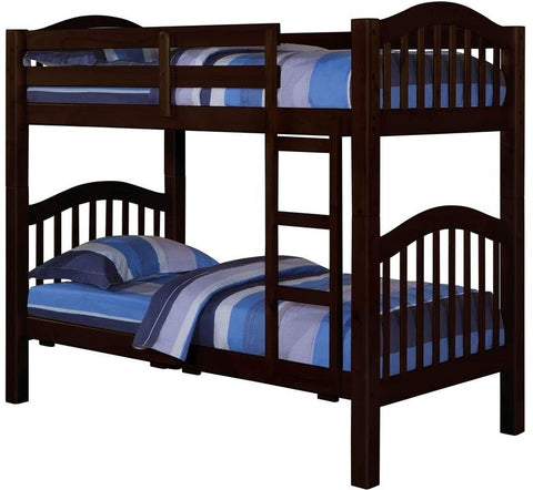 "80"" X 43"" X 69"" Espresso Pine Wood Twin Over Twin Bunk Bed"