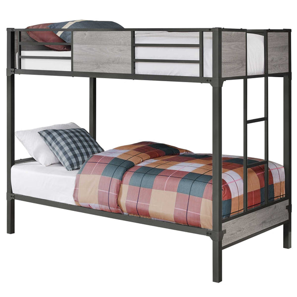 "41"" x 78'.5"" x 64'.5"" Grey-Dark Grey, Metal - Bunk Bed Twin Size"