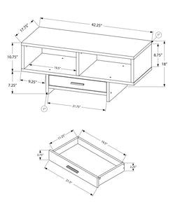 "17'.75"" x 42'.25"" x 18"" White, Storage - Coffee Table"