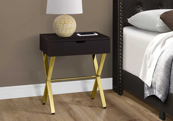 "12"" x 18'.25"" x 22'.25"" Cappuccino-Gold, Metal -Accent Table"