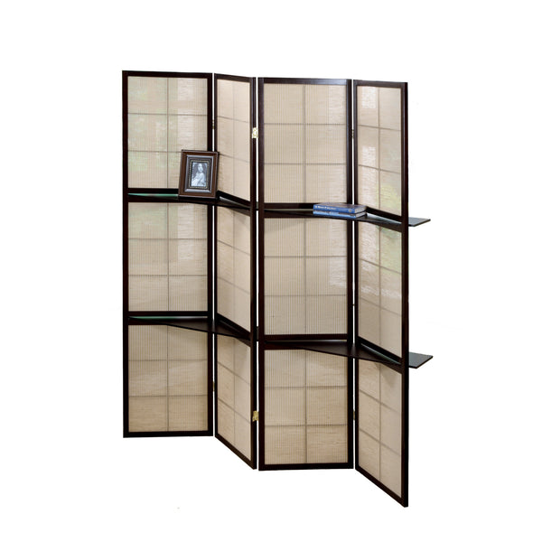 "59"" x 70'.25"" Cappuccino, 4 Panel, 2 Display Shelves - Folding Screen"