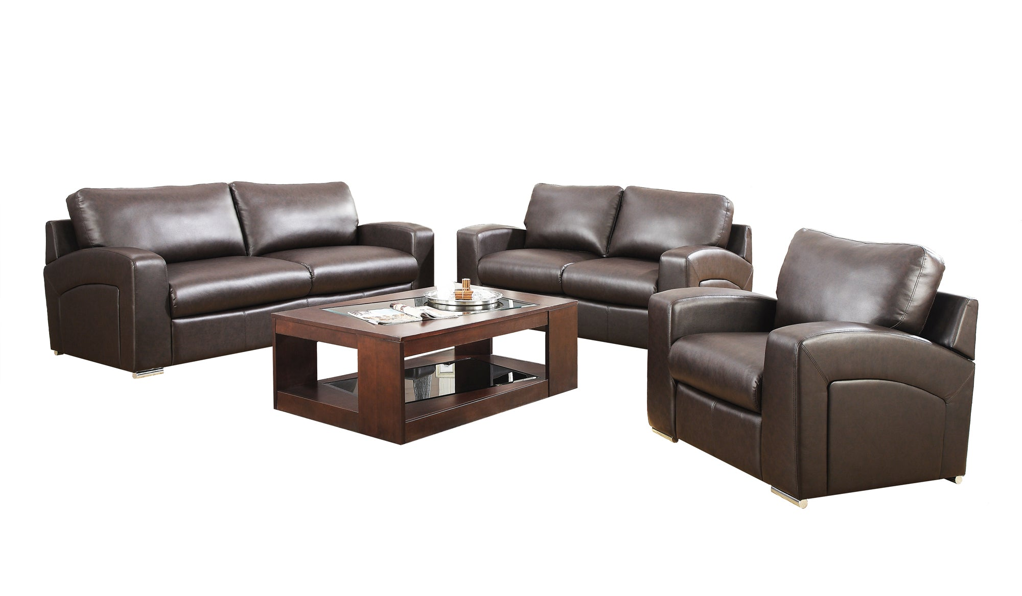"35"" x 39"" x 36"" Dark Brown, Bonded Leather - Chair"