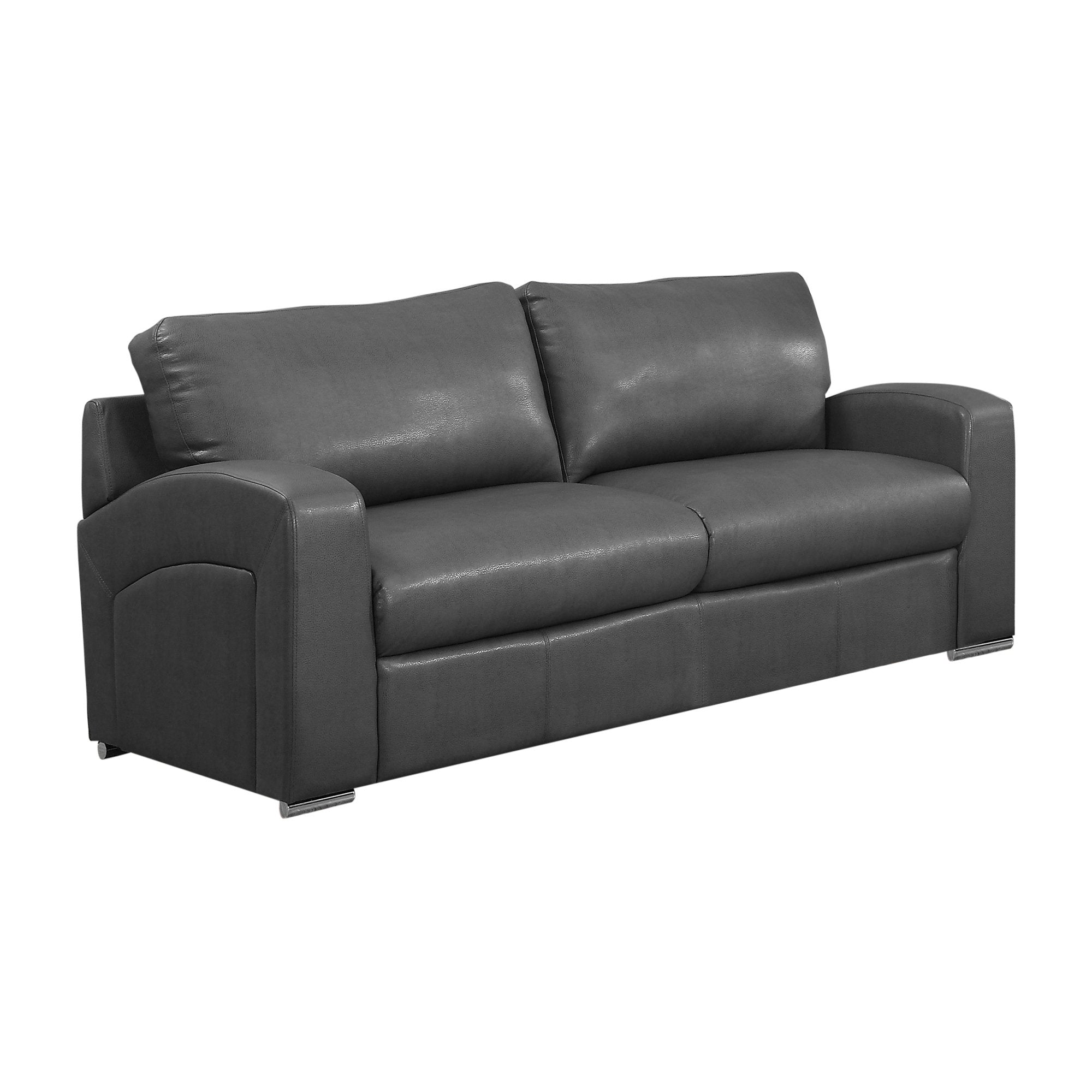 "35"" x 66"" x 36"" Charcoal, Grey Bonded Leather - Love Seat"