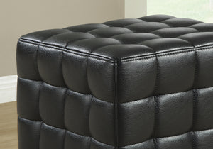 "16'.75"" x 16'.75"" x 17"" Black, Leather Look Fabric - Ottoman"