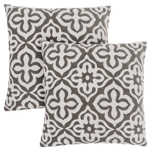 "18"" x 18"" Dark Taupe, Motif Design - Pillow 2pcs"