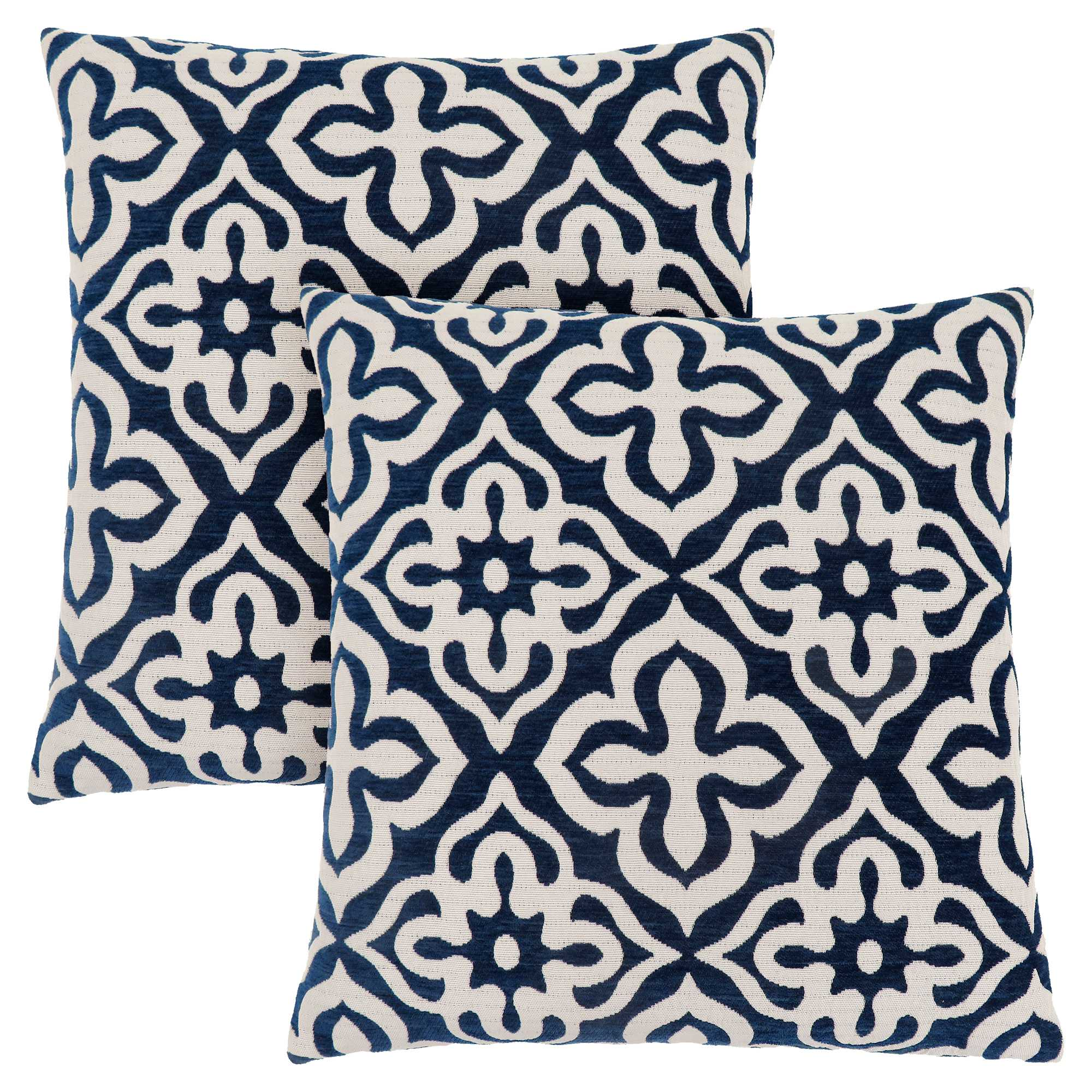 "18"" x 18"" Dark Blue, Motif Design - Pillow 2pcs"