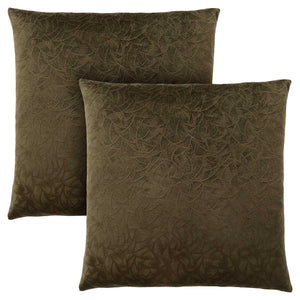"18"" x 18"" Dark Green, Floral Velvet - Pillow 2pcs"