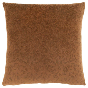 "18"" x 18"" Light Brown, Floral Velvet - Pillow"