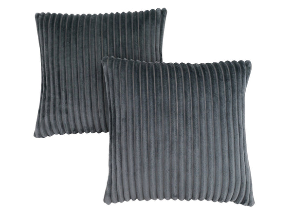 "18"" x 18"" Grey, Ultra Soft Ribbed Style - Pillow 2pcs"